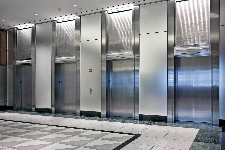 Lobby with 4 elevators